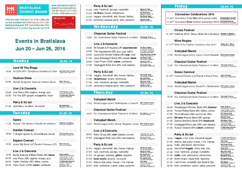 thumbnail of Events in Bratislava, June 20 – June 26, 2016