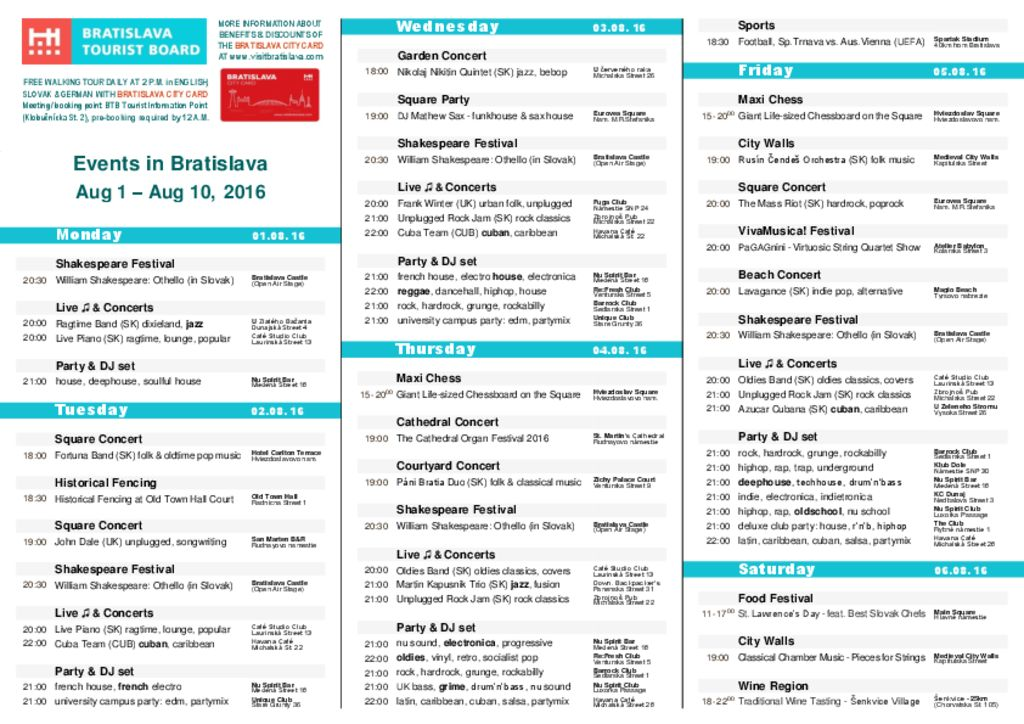 thumbnail of Events in Bratislava, August 1 – August 10, 2016