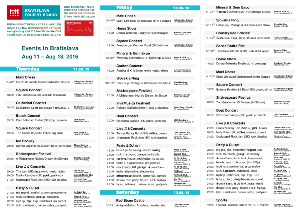 thumbnail of Events in Bratislava, August 11 – August 18, 2016