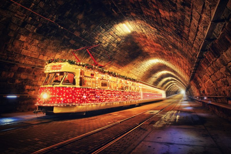 christmas tram tunnel